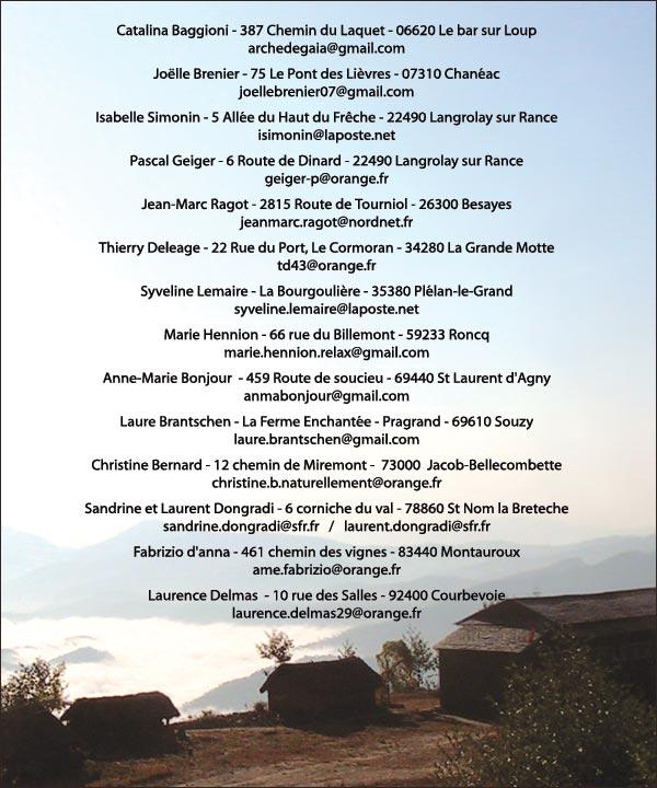 Liste des adhérents distributeurs du livre Ramchandra, l'Enfant des Himalayas